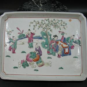 欧洲回流 粉彩戏婴瓷茶盘