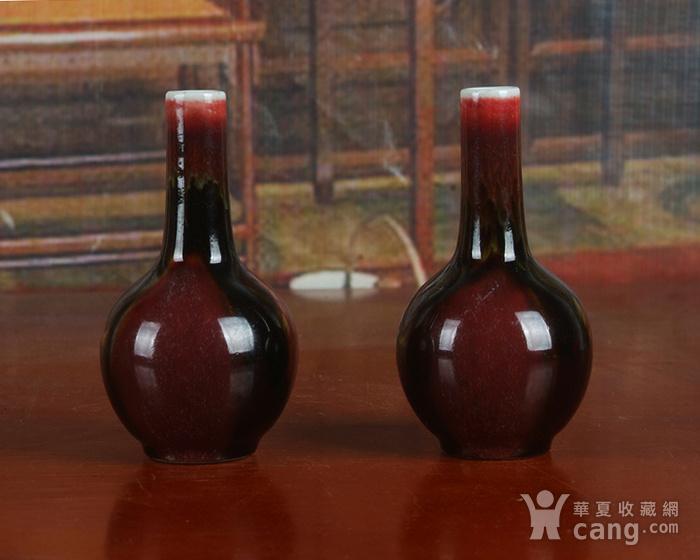 建国瓷厂高温颜色釉天球瓶一对图3