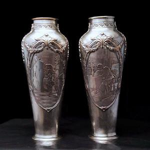 收藏品 18世纪法国宫廷铜胎银瓶一对