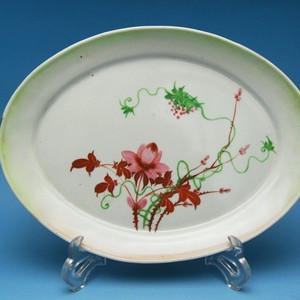 38.民国 粉彩花卉葡萄椭圆形大盘