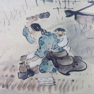 日本画 洗衣图