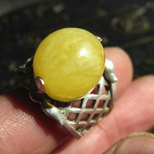 有些年头 银 镶嵌 鸡油黄满蜜 天然蜜蜡 大蛋面戒指