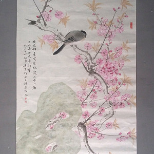 天津美院教授 周午生 桃花锦鸟图