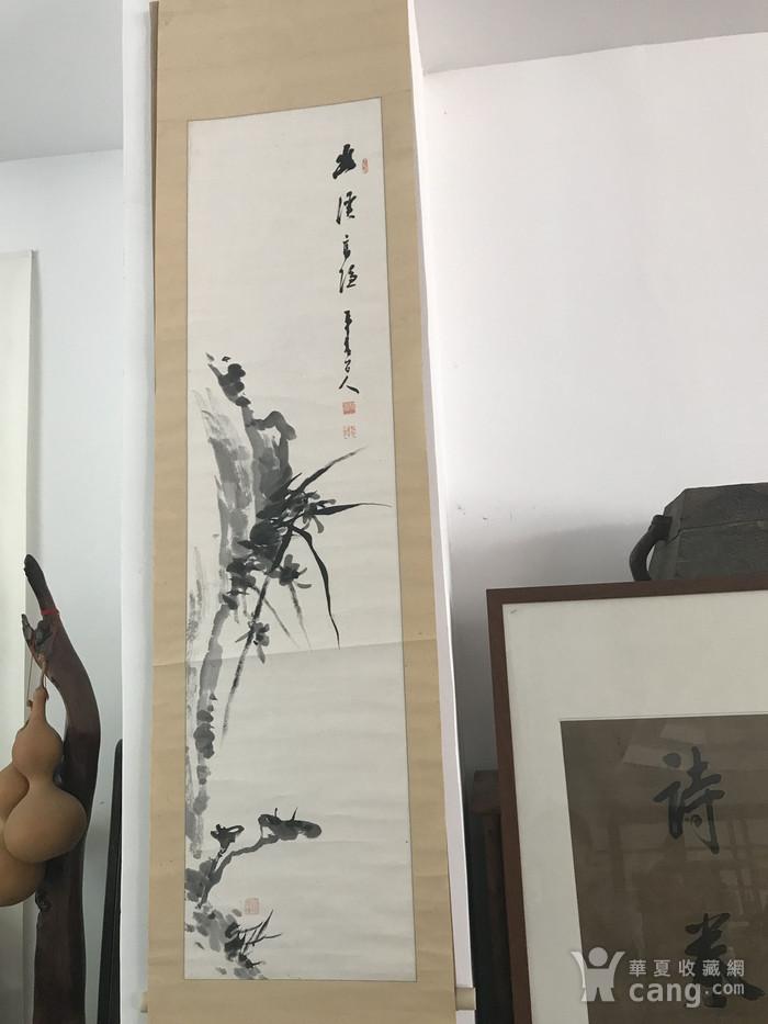 清代灵芝兰花图图1