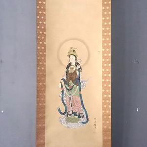 精品 日本回流 绢本工笔观音像立轴