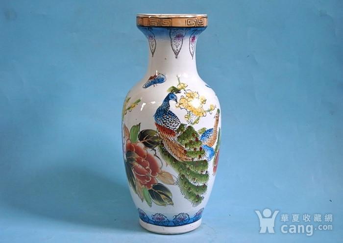 老厂货, 孔雀牡丹 花瓶图1