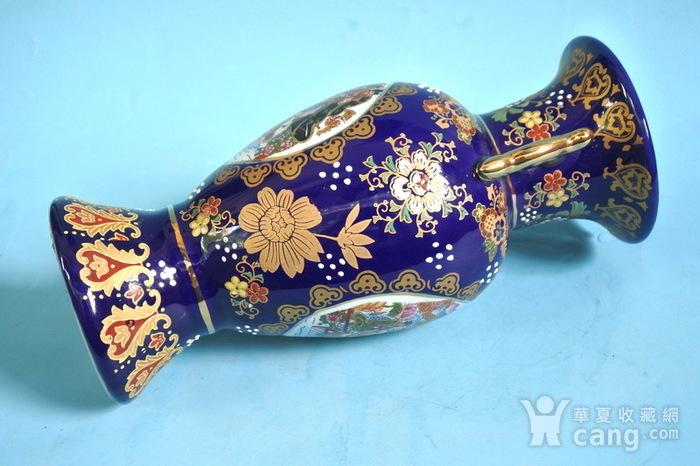 出口瓷,堆料描金侍女双耳瓶图7