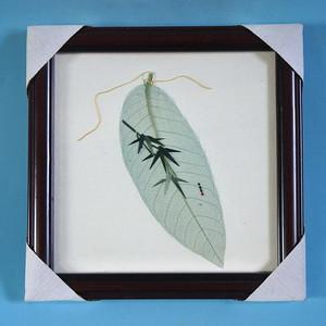 少见,树叶麦秆画 翠竹