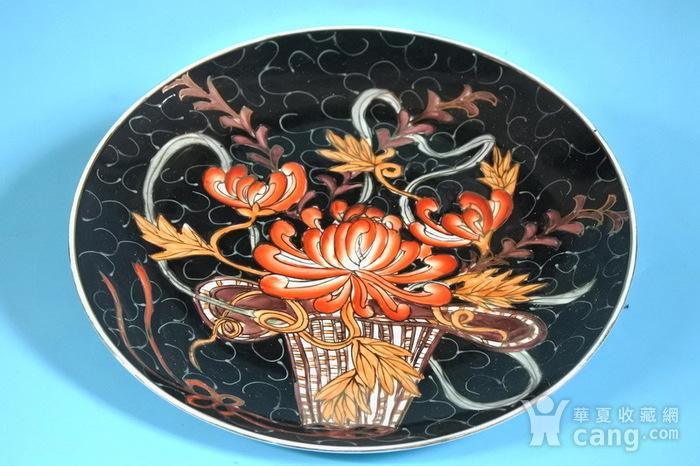 样品瓷,黑釉描金花篮盘图2
