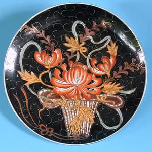 样品瓷,黑釉描金花篮盘