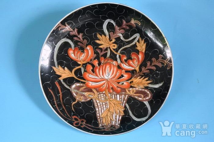 样品瓷,黑釉描金花篮盘图1