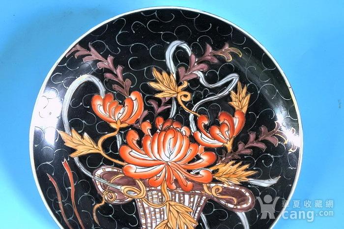 样品瓷,黑釉描金花篮盘图6