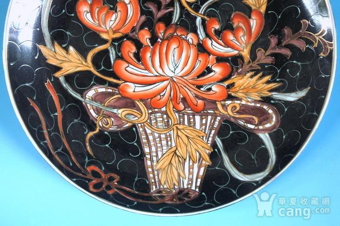 样品瓷,黑釉描金花篮盘图7