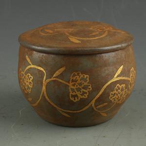 天青釉描金花卉纹罐
