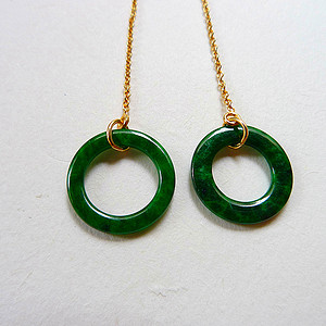 自然光实拍!天然A货好种阳绿14K金耳环