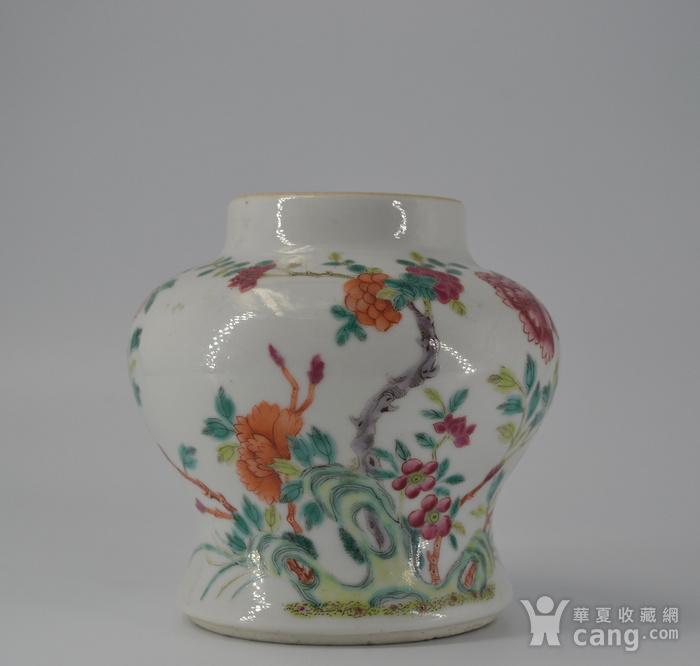清雍正粉彩洞石花卉小将军罐图11