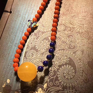 纯天然蜜蜡圆珠锁骨链