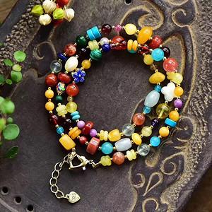 原创设计天然波罗的海蜜蜡水晶多宝三圈手链项链两用