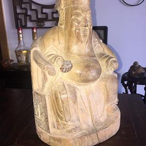 楠木雕财神