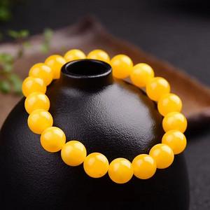 天然鸡油黄蜜蜡手链