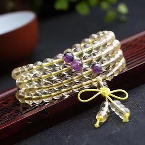 黄水晶佛珠手链