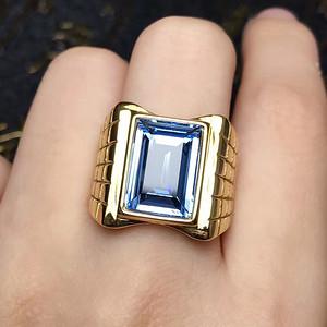 男款豪华海蓝宝戒指