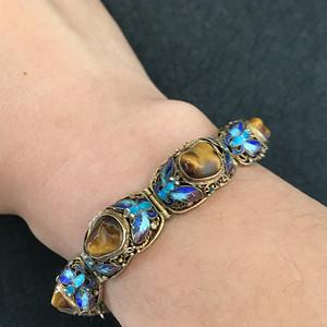 欧洲直邮 创汇期纯银鎏金掐丝珐琅玛瑙手链