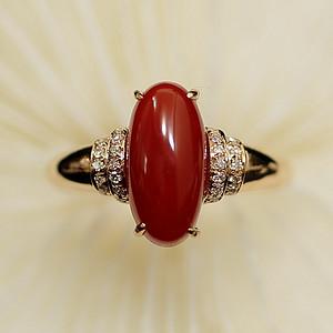 金牌 阿卡红珊瑚18K白金镶钻戒指
