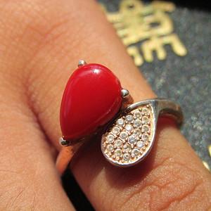 回流  阿卡 红珊瑚 戒指