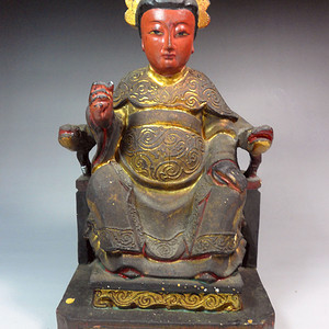 清代漆线雕木佛像