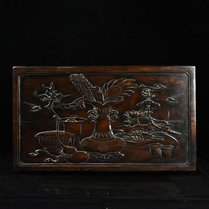 联盟 齐天阁花梨木精品浮雕八宝图首饰箱