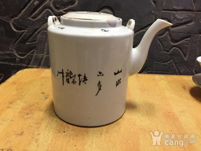 联盟 民国浅绛彩山水风光提梁茶壶 已经鉴定图4