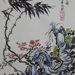 联盟 职业画家张国顺国画四君子图
