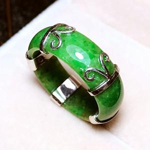 满绿指环!天然缅甸A货翡翠老坑满豆阳绿纯银镀18K白金镶戒指