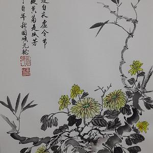 联盟  职业画家张国顺国画几度白衣虚令节
