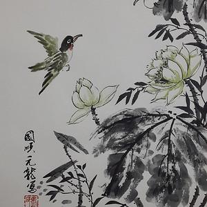 联盟 职业画家张国顺国画荷塘翠鸟图