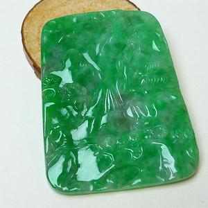 金牌缅甸老坑A货翡翠冰润满绿山水牌挂件