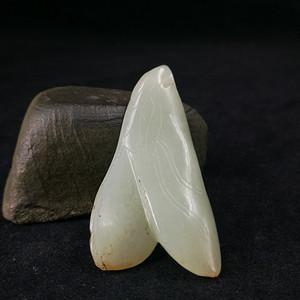 清代和田青白玉豆荚