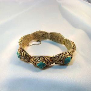 欧洲直邮 创汇期出口欧洲的银鎏金掐丝珐琅松石手链