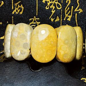 纯天然珊瑚玉菊花石宽版大手排!