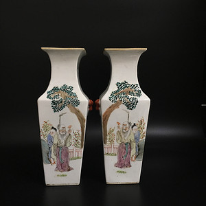 粉彩人物花瓶