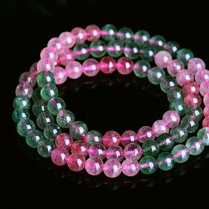 天然原矿无优化全冰体草莓晶粉草莓绿草莓水晶圆珠多圈手链