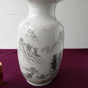 解放初 名家刻瓷 山水人物瓶