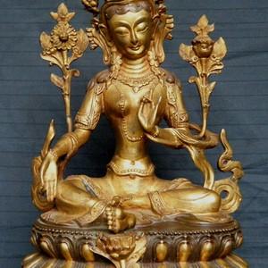 金牌 红铜鎏金绿度母佛像