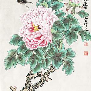 国宝级艺术家黄常五工笔《国色天香》