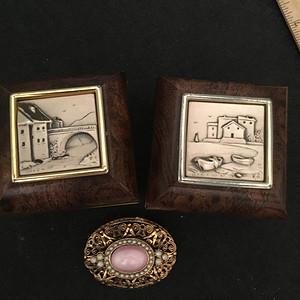 欧洲直邮 意大利那不勒斯925银画原木首饰小盒一对