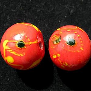 清代凤眼点彩珊瑚红老琉璃大珠一对