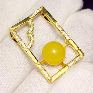 满蜜鸡油黄!纯银镀14K黄金镶42锆钻波罗的海天然蜜蜡圆珠吊坠!