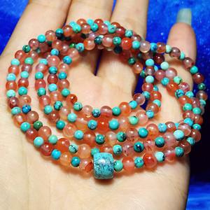 高瓷高蓝绿松石纯天然原矿无优化蓝松冰种南红玛瑙216佛珠手链