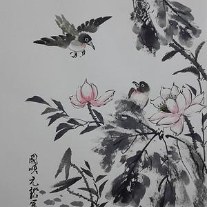 国际美联艺术家张国顺国画荷塘翠鸟图